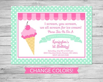 Ice Cream Shoppe Birthday Invitation Printable - Ice Cream Birthday Party Invite, Invitation, Ice Cream Parlor, Ice Cream