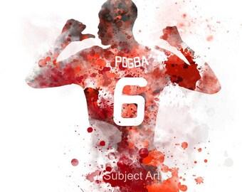 Paul Pogba ART PRINT illustration, Manchester United, Football, Home Decor, Wall Art, Red Devil, Sport