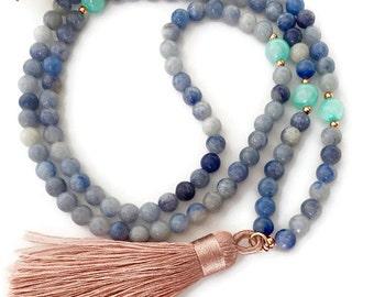 Blue Aventurine and Jade Mala Necklace, Mala Necklace, Tassel Mala, 108 Mala Beads, Silk Tassel Necklace, Meditation Beads, Mala Beads,