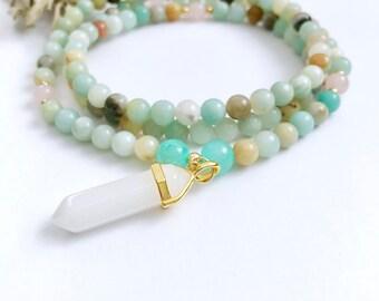 Amazonite Mala Necklace, Mala beads, Mala Necklace, Rose Quartz Mala, Prayer Beads, 108 Mala Beads,Japa Mala,Yoga Necklace,Calming Mala,MNA8