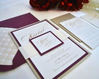 Burgundy invitation etsy burgundy gold and ivory wedding invitation dreamy curved marsala great gatsby stopboris Images