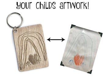 SALE Custom engraved wooden keychain | mothers day | fathers day | your childs artwork | your actual writing