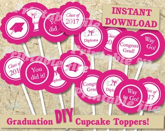 Graduation cupcake toppers printable template DIY