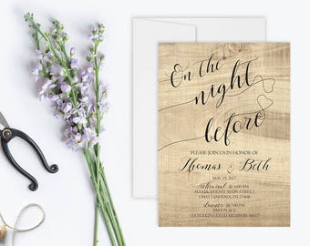 Rustic Rehearsal and Dinner Invitation Printable | On The Night Before Rehearsal Dinner Invitation | Wedding Rehearsal Invitation | Country