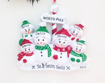 FREE SHIPPING 6 Snowmen Personalized Christmas Ornament / 6 Snowmen North Pole / Snowman Family Ornament / Big Family Christmas Ornament