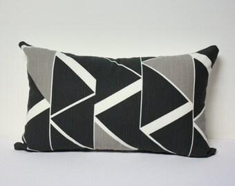 12x20 Nate Berkus Rivington Lynwood Geometric Slate and Tan lumbar pillow cover, black and white lumbar pillow cover