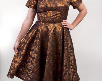 Bronze Roses Amy Dress UK size 12-14 - sparkly shiny metallic gold black floral flowers party dress handmade by The Emperor's Old Clothes