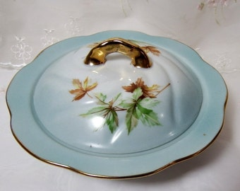 Antique German Covered Server, Blue on White with Floral Evergreen Branch and Gold Accents