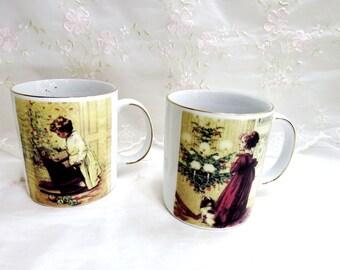 Vintage 1990s, Victoria Trading Company Mugs, Christmas, Victorian Scene, Set of 2