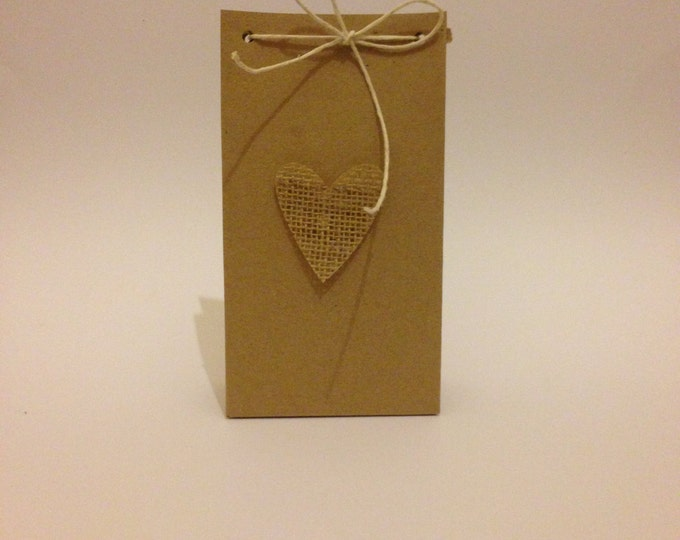 90 Handmade Large Gift Bag, Made to order, Wedding Favour, Hessian/ burlap Heart, Ready Glued