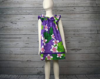 4T Purple Plumeria Dress, Toddler Hawaiian Dress, Toddler Summer Dress, 4T Tropical Dress, Girls Hawaii Dress, Purple Flower Girl Dress