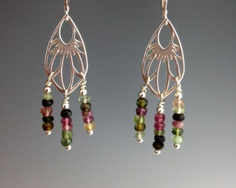 Tourmaline Earrings ~ Tourmaline Jewelry ~ Gemstone earrings ~ Multi color earrings ~ Sterling earrings ~ gift for her ~ Garden Palms