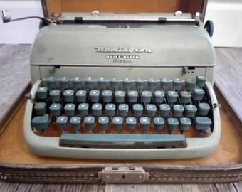 Antique 1950s Remington Quiet-Riter eleven portable typewriter, Remington typewriter quiet riter 11 with case, miracle tab