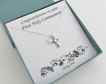 First Communion Gift for Girls, Cross and Pearl Necklace, sterling silver cross necklace, First communion necklace, Confirmation gift, MHD