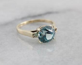 Vintage Blue Zircon Solitaire Ring in Yellow Gold XXM9VN-N