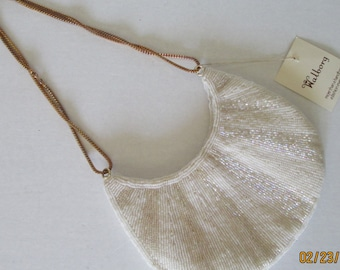 NWT Vintage 1950's  Walborg Hand Beaded Ivory Evening bag, purse, shoulderbag handbag