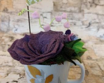 wool felt succulent arrangement