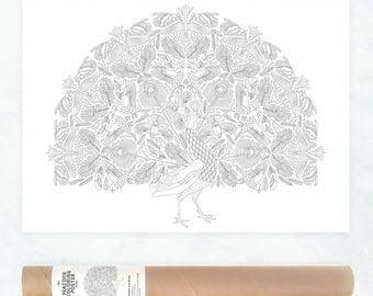 Peacock Feathers Coloring Page Boho Poster Adult Pages Wall Art