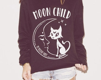 Moon Child Ladies Sweatshirt, Sof Grunge, Cute sweatshirt, Yoga sweatshirt, Slouchy Sweatshirt, Oversized Sweater, Yoga sweater