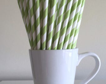 Green Paper Straws Light Green Striped Party Supplies Party Decor Bar Cart Cake Pop Sticks Mason Jar Straws Graduation Party Graduation
