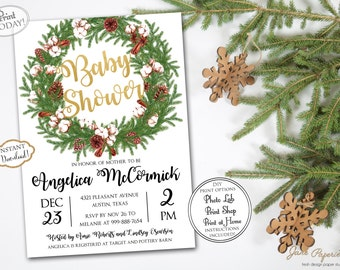 INSTANT DOWNLOAD - Christmas Baby Shower Invitation - Gold Foil Glitter Holiday Baby Shower - Winter Seasonal Baby Shower Invite - 0444