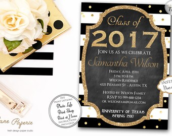 INSTANT DOWNLOAD - Graduation Invitation Black Stripe Gold Confetti - Class of 2017 - Graduation Party - High School Graduation