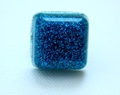 Resin Ring - Turquoise Ring - Resin Jewelry - Glitter Ring - Square Ring - Glitter Resin - Adjustable Ring - Teen Gift