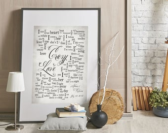 Crazy Love // Van Morrison // 1st Anniversary // Wedding song lyrics // Wedding song print // Anniversary Gift //Wedding GiftMade to Order