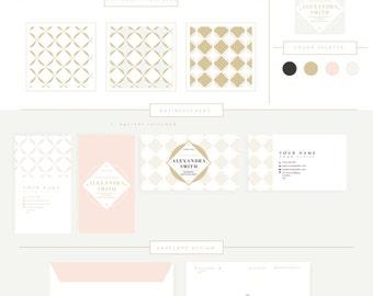 FULL BRANDING PACKAGE includes business cards letterhead stationary- Luxury Frame Logo - Circle Frame Logo pattern floral elegant boutique