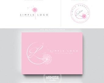 SOFT dandelion brush rose initials businesscards  simple modern feminine branding- logo Identity artist makeup wedding photographer