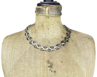 Blue Enamel Collar Necklace, Vintage Enamel Gold Link Necklace, Blue and Gold Necklace, Blue and Gold Chain Necklace