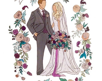 Custom Wedding Portrait Watercolor Painting