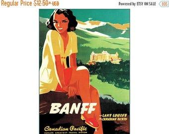 Lake Louise Banff Canadian Rockies Vintage Poster Print Retro Style Travel Vacation Mountain Winter Skiing Free US Post