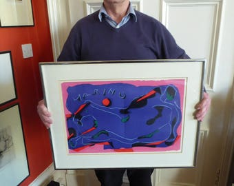 Attractive Vintage Lithograph (Homage a Marino) of an Abstract Horse by MARINO MARINI. Signed in the Lithograph