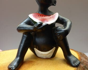 Very Quirky Wee 1950s SOUTH AFRICAN Model of a Little Boy Sitting Eating a Juicy Watermelon