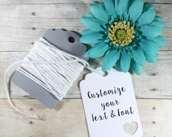White Custom Heart Tags Set of 20 - White Favor Tags - Personalized Wedding Gift Tags - White Party Tags - Custom Heart Themed Baby Shower