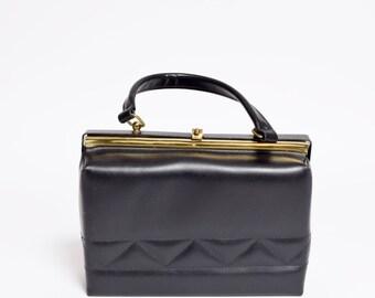 Vintage 80's  Faux Leather Black Handbag Purse