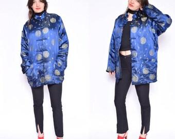 Vintage 90's Chinese Blue Jacket / Blue Satin Jacket / Chinese Satin Warm Jacket - Size Large