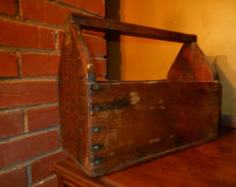 Antique Handmade Wood Carrier / Tool Carrier  from Old Fruit Crate