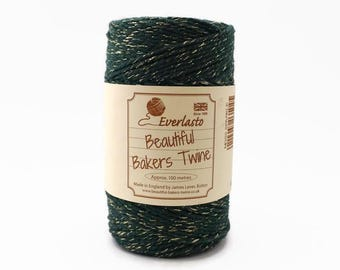 Green Sparkle Baker's Twine 100m - Moss Green & Gold Glitter Twine - Sparkle Twine - Green Christmas Twine - Everlasto Twine Made in England