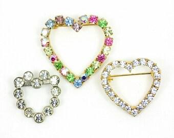 Rhinestone Heart Shaped Brooches from 40s 60s & 70s, Heart Brooch Trio, Heart Jewelry