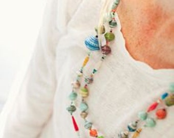 Ugandan Paper Bead Bright Necklace Natural ekisa African Jewelry fair trade recycled uganda africa Extra Long Multi-color Ugandan paperbead