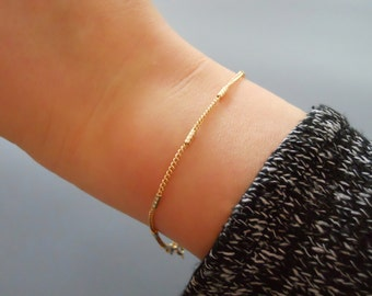 Thin Gold Bracelet, Gold Chain Bracelet, Layering Bracelet, Delicate Chain Bracelet With Tiny Tubes, Tubes Bracelet, Everyday Bracelet, #508