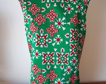Bright green & red sleeveless mod tunic top 60s M / L