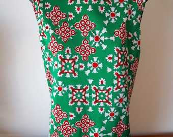 Bright green & red sleeveless mod tunic top 60s M / L