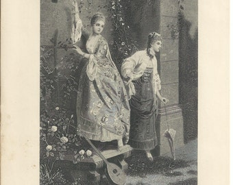 """1888 Steel Engraving """"The Letter at the Gate"""" 7x10 by E Fontana"""