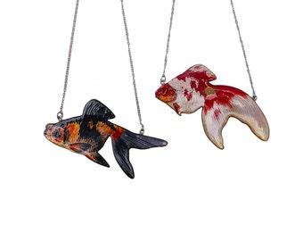 Goldfish Necklace, goldfish jewellery, fish necklace, necklace, vintage necklace, good luck jewelry, japanese art, Japanese jewellery,