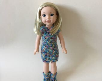 "Hand crocheted dress & boots for 14.5"" doll such as American Girl Wellie Wishers"