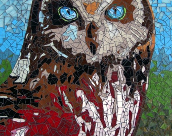 Owl Stained Glass Mosaic Tile Crimson Hooter Free U.S. Shipping