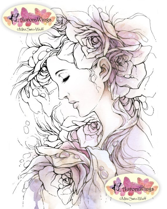 Digital Stamp Instant Download - Weeping Rose - digistamp - Woman in Roses Fantasy Line Art for Cards & Crafts by Mitzi Sato-Wiuff